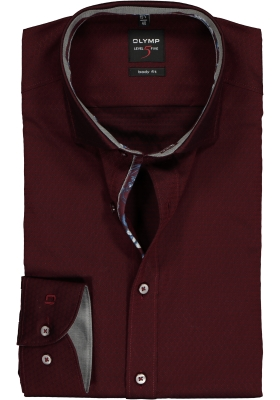 OLYMP Level 5 Body Fit overhemd, bordeaux rood ingeweven dessin (contrast)