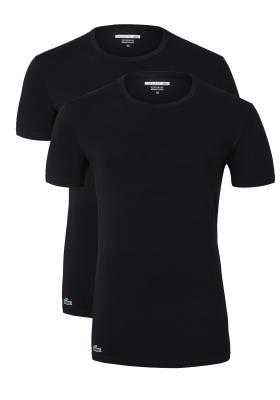 Lacoste 2-pack Cotton Stretch, slim fit T-shirts O-hals zwart