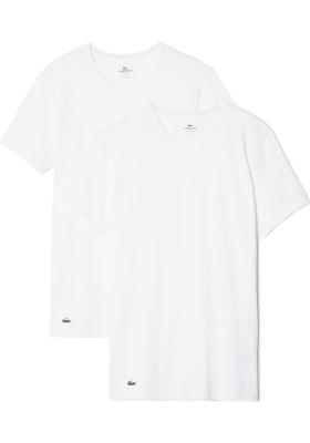 Lacoste 2-pack Cotton Stretch, slim fit T-shirts V-hals wit