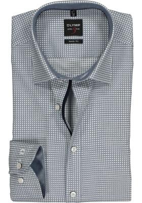 OLYMP Level 5 Body Fit overhemd, blauw ingeweven ruitje (contrast)
