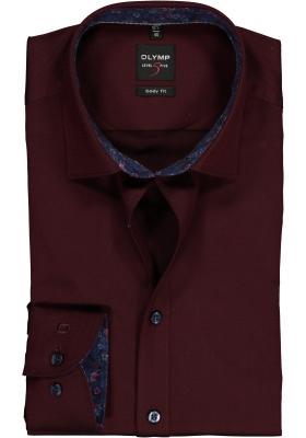 olymp level 5 body fit overhemd bordeaux rood 2 ply. Black Bedroom Furniture Sets. Home Design Ideas
