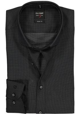 OLYMP Level 5 Body Fit overhemd, zwart ingeweven mini dessin