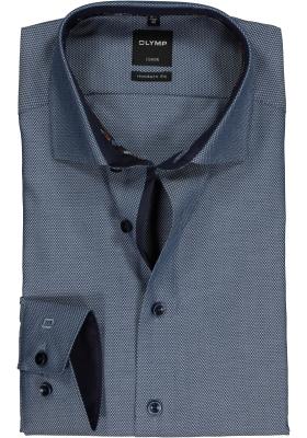 OLYMP Modern Fit overhemd, blauw structuur (contrast)