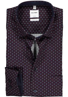 OLYMP Comfort Fit overhemd, bordeaux rood met blauw dessin (contrast)
