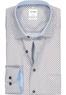 OLYMP Comfort Fit overhemd, bruin met blauw dessin (contrast)