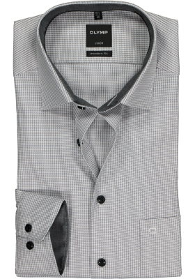 OLYMP Modern Fit overhemd, antraciet met wit mini pepita ruitje (contrast)