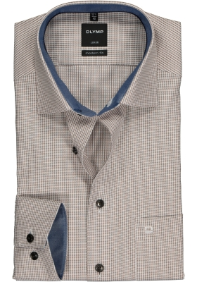 OLYMP Modern Fit overhemd, bruin met wit mini pepita ruitje (contrast)