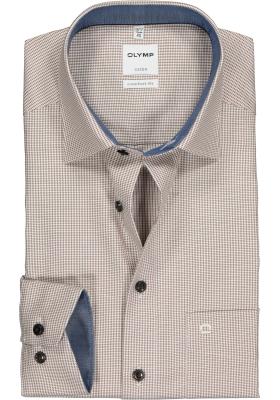 OLYMP Comfort Fit overhemd, bruin met wit mini pepita ruitje (contrast)