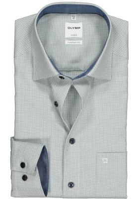 OLYMP Comfort Fit overhemd, groen met wit mini pepita ruitje (contrast)