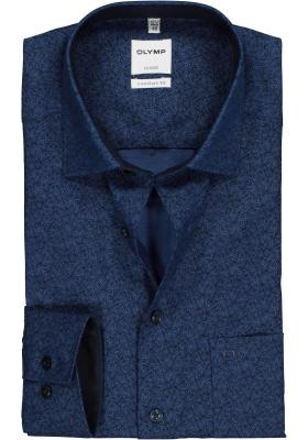 OLYMP Comfort Fit overhemd, blauw structuur dessin (contrast)