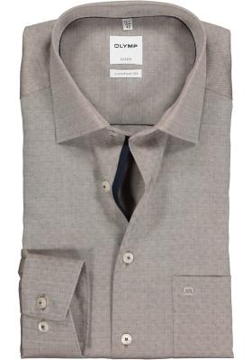 OLYMP Comfort Fit overhemd, bruin 2-ply herringbone