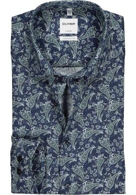 OLYMP Comfort Fit overhemd, groen met blauw dessin