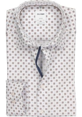 OLYMP Comfort Fit overhemd, wit met blauw en bruin dessin structuur (contrast)