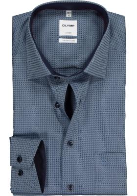 OLYMP Luxor Comfort Fit, Mouwlengte 7, donkerblauw structuur dessin (contrast)