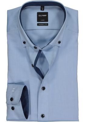 OLYMP Modern Fit overhemd, lichtblauw Oxford (contrast)