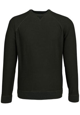 OLYMP Level 5, heren trui wol, O-hals olijfgroen (Slim Fit)
