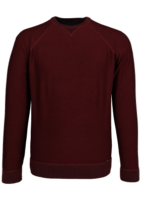 OLYMP Level 5, heren trui wol, O-hals bordeaux rood (Slim Fit)