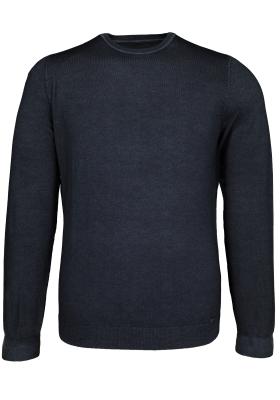 OLYMP Level 5, heren trui wol, O-hals antraciet grijs (Slim Fit)