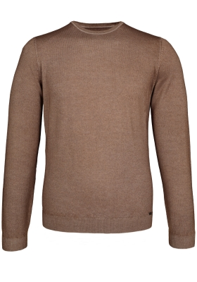 OLYMP Level 5, heren trui wol, O-hals noga bruin (Slim Fit)