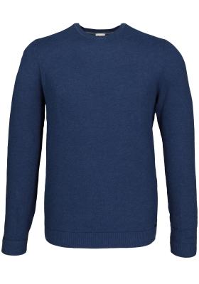 OLYMP Level 5 heren trui katoen O-hals, rookblauw (Slim Fit)