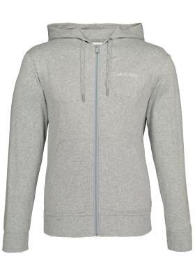 Calvin Klein Cotton Modal Lounge Full zip sweatshirt, grijs melange vest