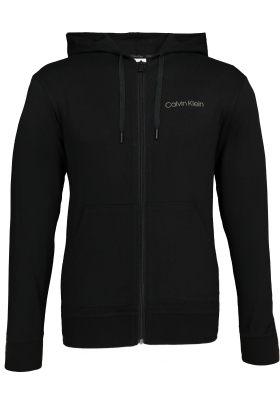 Calvin Klein Cotton Modal Lounge Full zip sweatshirt, zwart vest