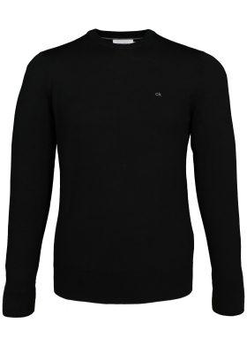 Calvin Klein superior wool crew neck pullover, heren trui wol, zwart