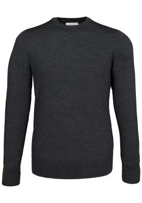 Calvin Klein superior wool crew neck pullover, heren trui wol, antraciet grijs