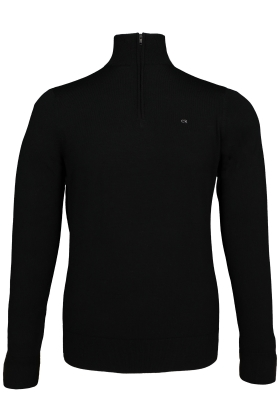 Calvin Klein superior wool zip mock pullover, heren trui wol, zwart