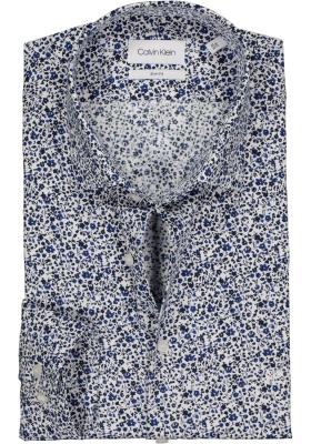 Calvin Klein Slim Fit printed, overhemd, blauw en wit mini bloemetje