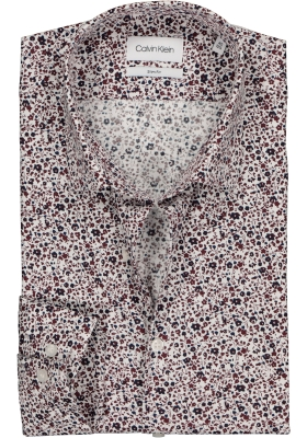 Calvin Klein Slim Fit printed, overhemd, bordeaux met blauw en wit mini bloemetje
