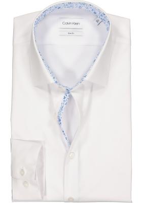 Calvin Klein Slim Fit, overhemd, wit met lichtblauw contrast