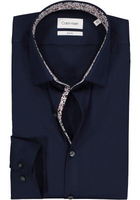 Calvin Klein Slim Fit overhemd, donkerblauw met dessin contrast in tawny port