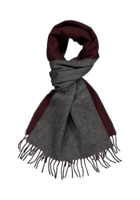Profuomo heren sjaal, bordeaux met grijs kasjmier