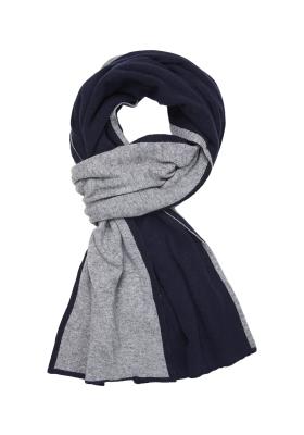 Profuomo heren sjaal, navy blauw met grijs