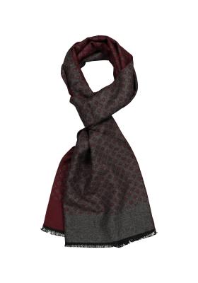 Michaelis heren sjaal, bordeaux met grijs dessin