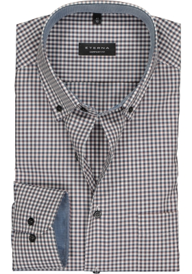 ETERNA Comfort Fit overhemd, blauw-rood geruit (contrast)