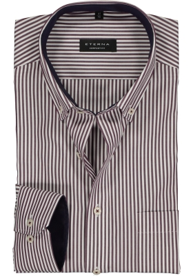 ETERNA Comfort Fit overhemd, bordeaux-wit gestreept (contrast)