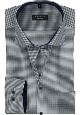 ETERNA Comfort Fit overhemd, blauw-groen-wit geruit (contrast)