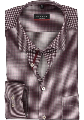 Eterna Modern Fit overhemd, bordeaux-wit geruit