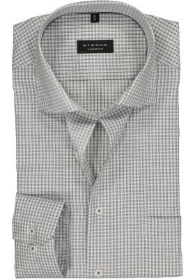 ETERNA Comfort Fit overhemd, antraciet-wit geruit