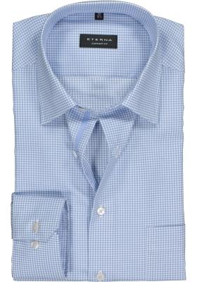 ETERNA Comfort Fit overhemd, lichtblauw geruit twill