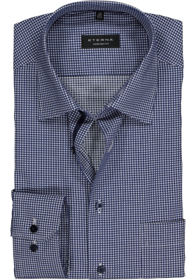 ETERNA Comfort Fit overhemd, donkerblauw geruit twill