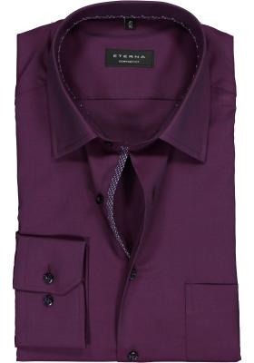 ETERNA Comfort Fit overhemd, bordeaux rood structuur (contrast)