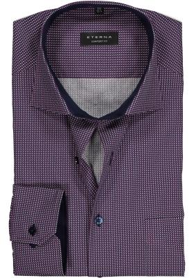 ETERNA Comfort Fit overhemd, blauw-bordeaux dessin (contrast)