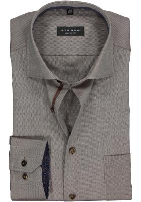 ETERNA Comfort Fit overhemd, bruin structuur (contrast)
