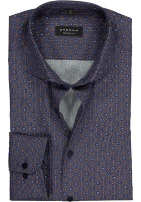 ETERNA Comfort Fit overhemd, blauw-bruin dessin
