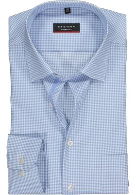 ETERNA Modern Fit overhemd, lichtblauw geruit twill
