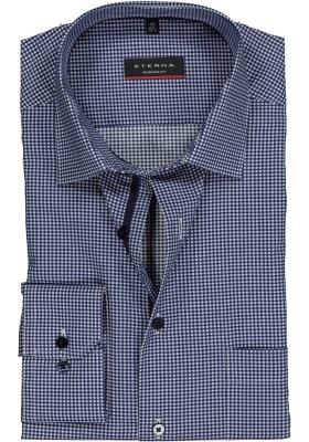 ETERNA Modern Fit overhemd, donkerblauw geruit twill