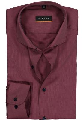 Eterna Slim Fit overhemd, bordeaux rood structuur